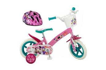 Vélos enfant Shot Case Disney minnie vélo 12 + casque - enfant fille - rose, blanc et vert