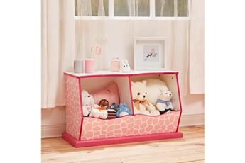 Coffre à jouets Teamson Kids Meuble de rangement enfant en bois rose blanche teamson kids td-12474p