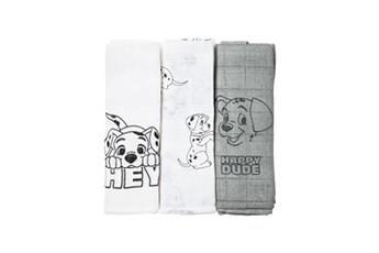 Matelas à langer Disney Lot de 3 langes 101 dalmatiens - 60 x 60 cm - 2 imprimés + 1 all over - 100% coton
