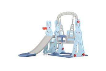 Balancelle bébé Insma Toboggan avec petit balancoire pour enfant aire de jeux 2-8 ans 142x135x110cm bleu