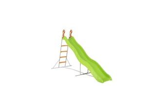 Toboggan Trigano Toboggan pyrou de 3,32m de glisse , coloris vert avec 4 echelons anti-dérapant coloris orange, structure métal coloris gris.