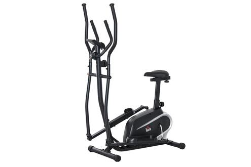 HOMCOM Vélo elliptique vertical vélo d'appartement 2 en 1 écran lcd multifonction hauteur & résistance réglable acier noir