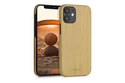 Kalibri coque compatible avec apple iphone 12 mini - housse de protection ultra fine pour téléphone en bois marron clair