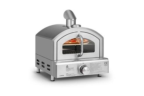 KLARSTEIN Pizzaiolo neo - four à pizza à gaz - pression 50 mbar- pierre de cuisson incluse & thermomètre intégré - inox 304 - argent