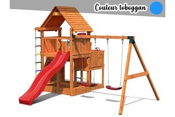 Portique Fungoo Aire de jeux big leader move + bac à sable + corde + toboggan bleu