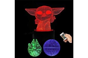 Veilleuse Huanchenda Star wars lampe 3d illusion veilleuse, 3 motifs 16 couleurs changeantes star wars veilleuse, chambre de d?coration pour enfants