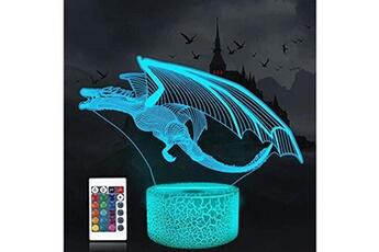 Veilleuse Coopark Coopark dragon veilleuse à illusion 3d led lampe de bureau lampe de table 16 couleurs changeantes capteur tactile télécommande avec pour chambre à