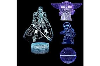 Veilleuse Huanchenda Star wars lampe 3d illusion veilleuse, 4 motifs star wars veilleuse avec c?ble interfcace et 7 couleurs changeantes, chambre de d?coration pour