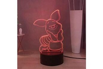 Veilleuse Lamchim Winnie l'ourson piglet 3d veilleuse led avec 16 couleurs r?glables, lampe de bureau ? distance usb touch remote home decor, cadeau de vacances