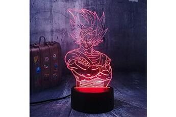 Veilleuse Jinlycoo Lampe illusion 3d dragon ball z kakarot veilleuse de chevet led acrylique multicolore lampe de table son goku télécommande lampe d'étude pour enfant