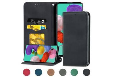 Samsung galaxy a40 housse etui coque de protection type portefeuille (support carte de credit) [noir]
