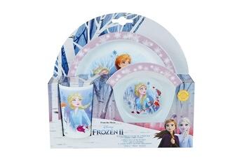 Vaisselle bébé Cijep Disney reine des neiges ensemble repas incluant 1 verre 220 ml, 1 assiette et 1 bol micro-ondables pour enfant