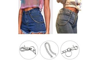 Accessoires de déguisement GENERIQUE 2pc hip hop jeans chaîne avec porte-clés pour femmes hommes jeans pantalons chaîne portefeuille pantalon - argent