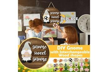 Poupées GENERIQUE Panneau de bienvenue saisonnier gnome door hanger avec pièces de vacances interchangeables@c54197
