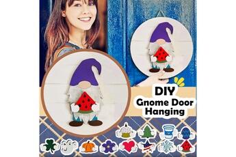Poupées GENERIQUE Panneau de bienvenue saisonnier gnome door hanger avec pièces de vacances interchangeables@c54227