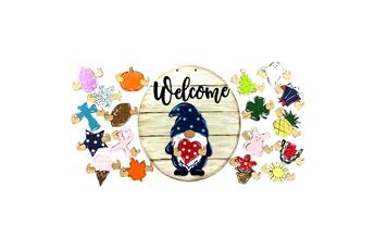Poupées GENERIQUE Panneau de bienvenue saisonnier gnome door hanger avec pièces de vacances interchangeables@c54121