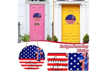 Poupées GENERIQUE American independence day memorial door hanging décoration en bois signe suspendu@c65290