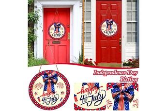 Poupées GENERIQUE American independence day memorial door hanging décoration en bois signe suspendu@c65291