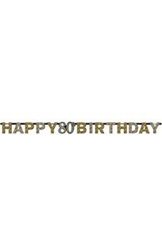Tout pour la fête Amscan International Amscan international 9901718 2.13 m x 17 cm or celebration 80 ans bannière joyeux anniversaire prismatic