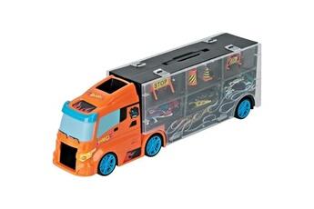 Véhicules miniatures Hot Wheels Toys and fun camion hot wheels 40 cm et 3 voitures + accessoires de signalisation pour enfant