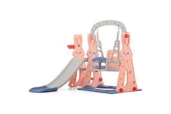 Balancelle bébé Insma Toboggan avec petit balancoire pour enfant aire de jeux 2-8 ans 142x135x110cm rose