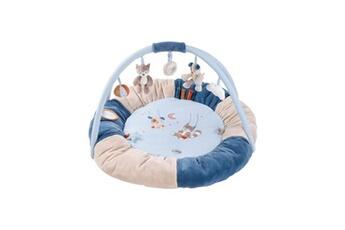 Tapis d'éveil NATTOU Tapis pouf avec arches jim & bob - 100% polyester - diametre 90 cm - beige et bleu - des la naissance