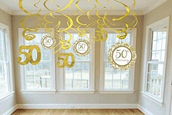 Tout pour la fête Amscan Amscan international décoration à suspendre avec 12 spirales 50e anniversaire doré