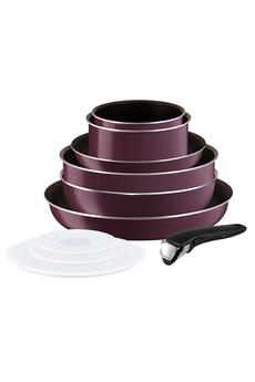 Set 10 pièces - Poignée amovible Revêtement anti-adhésif (Powerglide) Thermospot : indicateur de chaleur pour une cuisson optimale Compatible tous feux sauf induction + four