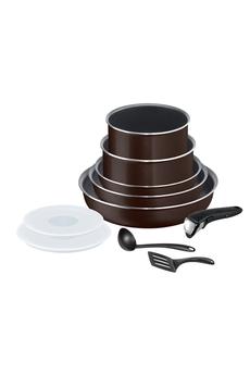 Casserolerie Tefal INGENIO ESSENTIAL Black Coffee pailleté Batterie de cuisine 10 pièces L2389302
