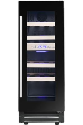 Cave de service encastrable Zone supérieure : 6 bouteilles - Zone inférieure : 11 bouteilles Dimensions HxLxP : 88 x 29.5 x 57.2 cm Porte réversible triple vitrage traité anti-UV - Eclairage LED