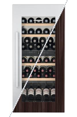 Cave mixte 2 zones Capacité de 48 bouteilles - 5 clayettes en bois Dimensions HxLxP : 122x56x55 cm Régulation par air brassé - Habillage en option