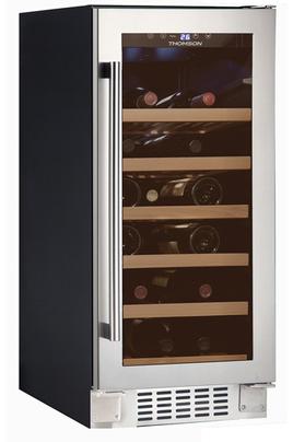 Capacité de 20 bouteilles - classe B Cave à vin de service mono-compartiment, encastrable sous plan Dimensions en cm : 29,5 (L) x 57 (P) x 87 (H) Porte vitrée anti-UV réversible
