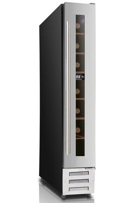 Capacité de 7 bouteilles - classe A Cave de service mono-compartiment, encastrable sous plan Dimensions en cm : 15 (L) x 52 (P) x 87 (H) Porte vitrée anti-UV