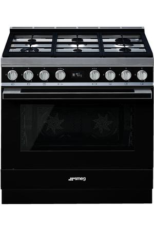 Piano de cuisson smeg portofino 90cm mixte noir cpf9gmbl - Piano de cuisson noir ...