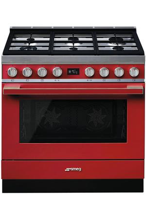 Piano de cuisson smeg portofino 90cm mixte rouge cpf9gmr - Piano de cuisson rouge ...