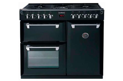 Largeur 90 cm - Table de cuisson gaz 5 foyers jusqu'à 3000 W (foyer Wok) Capacité des 3 fours (28 L, 47 L, 76 L) - Nettoyage manuel Four cuisson par convection