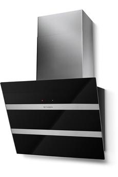 Hotte inclinée 55 cm Débit d'air de 730m3/h (en intensive) Commande sensitive - 4 vitesses dont 1 intensive Double aspiration - Eclairage LED - Aspiration périmétrale
