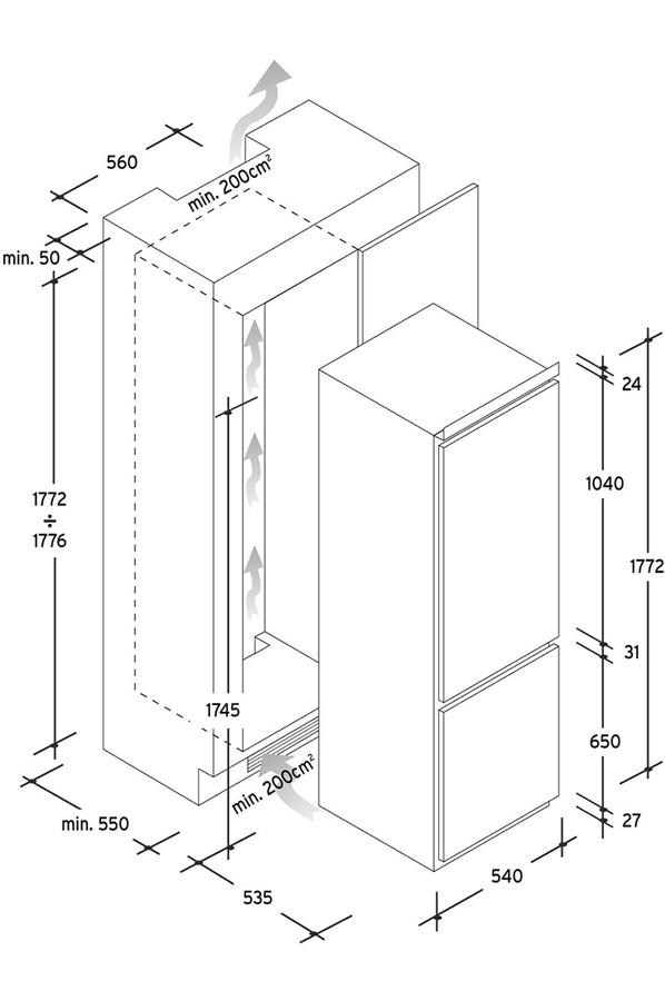 Refrigerateur congelateur encastrable candy ckbbf172 darty - Refrigerateur encastrable darty ...
