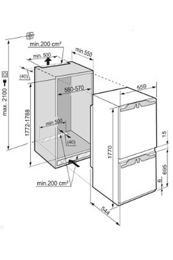 refrigerateur congelateur encastrable liebherr icbn 3324. Black Bedroom Furniture Sets. Home Design Ideas