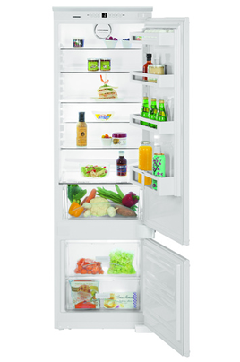Volume 281 L - Classe A++ (228 kWh/an) Réfrigérateur froid brassé - Congélateur froid statique Hauteur 177 cm (niche 177 à 178 cm) Fixation de l'habillage sur glissières