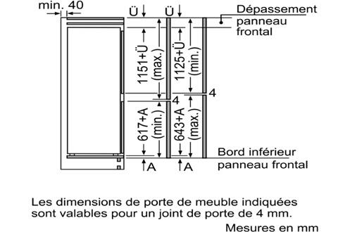 refrigerateur congelateur encastrable siemens ki87vvf30 darty. Black Bedroom Furniture Sets. Home Design Ideas