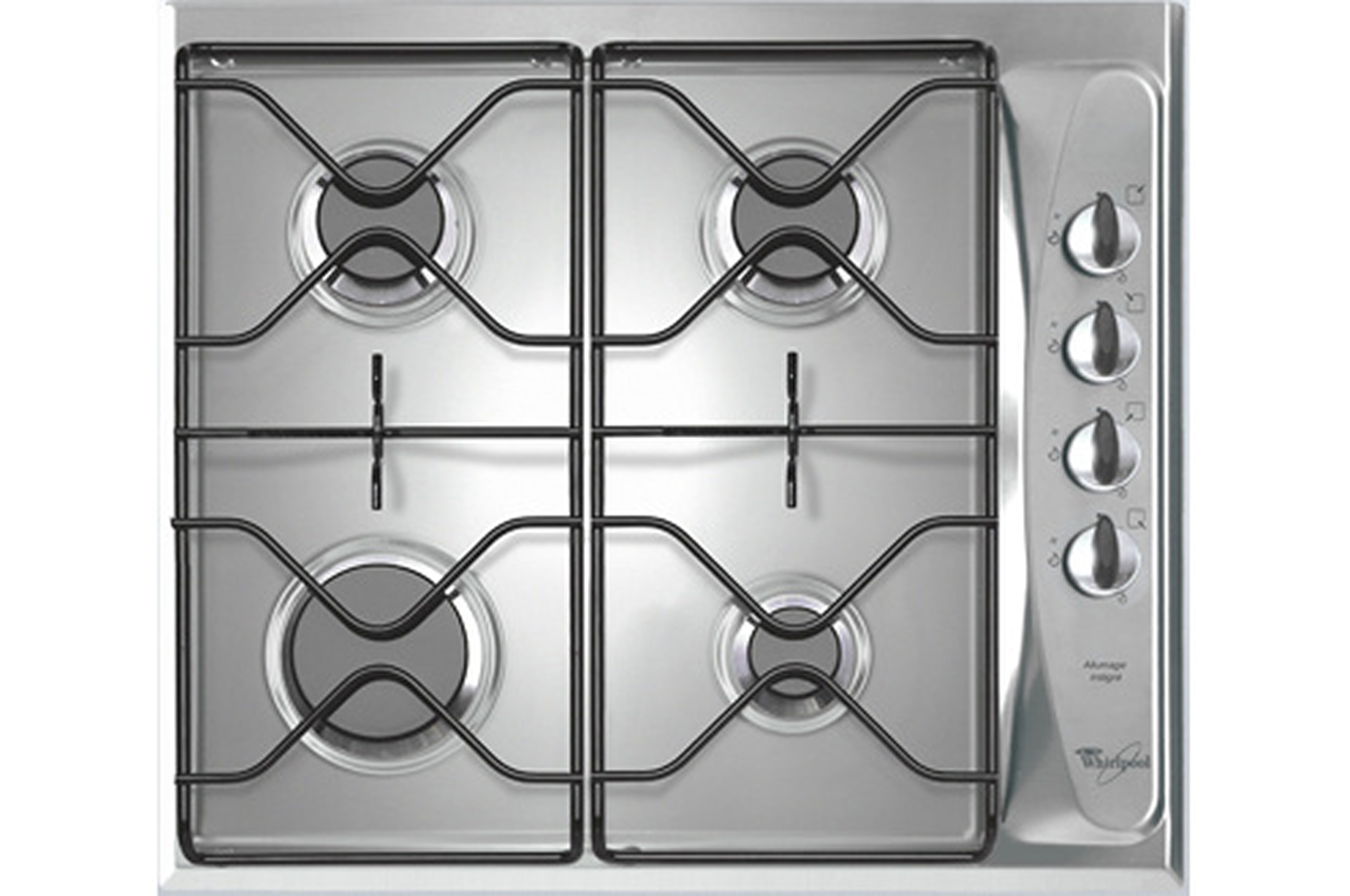 Plaque gaz whirlpool akm260ix akm 260 ix 3722740 darty - Table de cuisson gaz inox ...