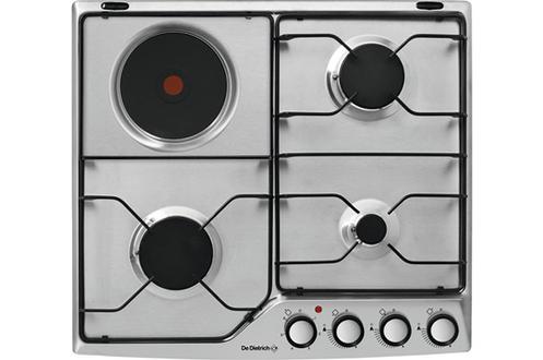 """Revêtement en inox 3 foyers gaz et 1 foyer électrique Puissance du foyer principal : 3100 W Allumage """"une main"""" - Sécurité gaz par thermocouple"""
