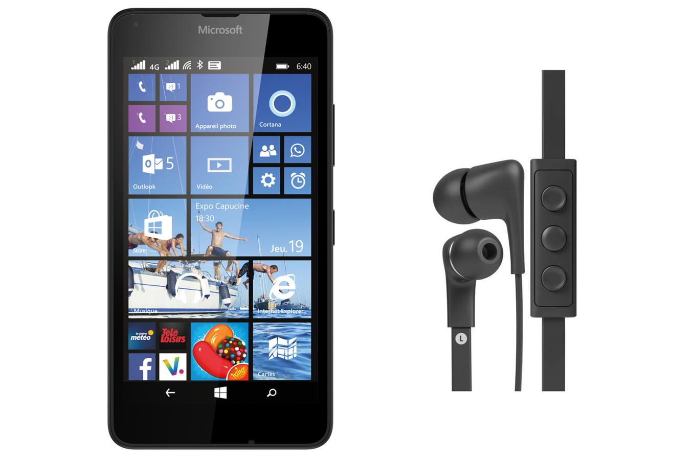 smartphone nokia lumia 640 noir avec casque intra auriculaire jays five lumia 640 4243927. Black Bedroom Furniture Sets. Home Design Ideas