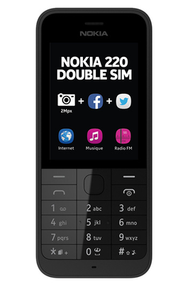 t l phone portable nokia 220 dual sim noir a00017554 4078748 darty. Black Bedroom Furniture Sets. Home Design Ideas
