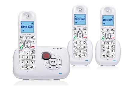 T l phone sans fil alcatel xl385 voice trio blanc darty - Telephone sans fil avec repondeur pour senior ...