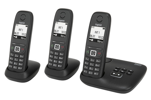 t l phone sans fil gigaset as415a trio noir 4022840. Black Bedroom Furniture Sets. Home Design Ideas
