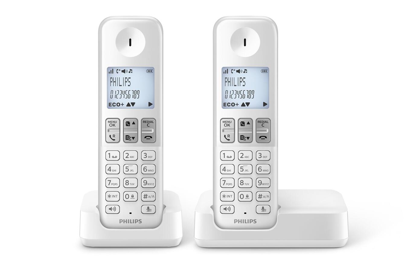 t l phone sans fil philips d230 duo blanc 4162030 darty. Black Bedroom Furniture Sets. Home Design Ideas