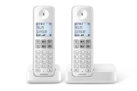 t l phone sans fil philips d230 duo blanc darty. Black Bedroom Furniture Sets. Home Design Ideas