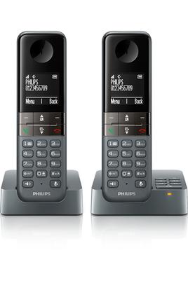 Téléphone sans fil D455 REPONDEUR DUO GRIS Philips